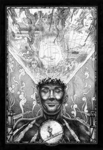 Tusche, Portrait, Schwarz weiß, Selbstportrait