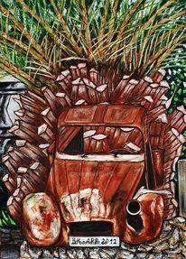 Autowrack auf mallorca, Alt, Ente, Natur
