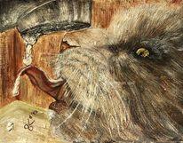 Katze, Riinkt vom wasserhahn, Kater am trinken, Malerei