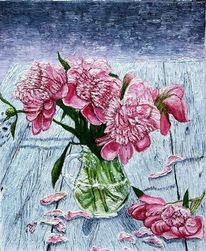 Vase mit z, T verblühenden pfingstrosen, Pringstrosen, Malerei