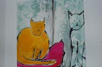 Katze kissen pink, Malerei, Tiere