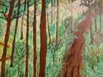 Acrylmalerei, Malerei, Waldweg