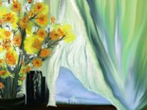Blumen, Gardine, Vase, Fantasieblumen