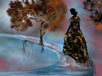 Frau, Fantasie, Baum, Malerei