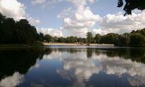 Wasser, Wolken, Grün, See