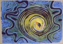 Schwarz, Abstrakt, Gelb, Blau