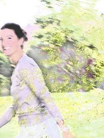 Frühling, Grün, Bewegung, Frau