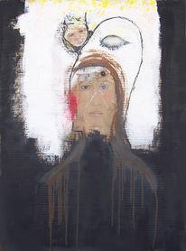 Pappe, Acrylmalerei, Selfie, Schwarz weiß