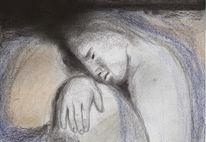 Dunkel, Pastellmalerei, Schwarz, Menschen