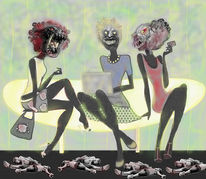 Digital, Dame, Gesellschaft, Collage