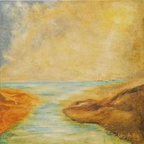 Fluss, Flussmündung, Landschaft, Malerei
