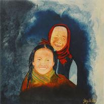 Menschen, Oma, Enkel, Malerei