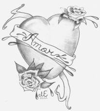 Bleistiftzeichnung, Herz, Malerei, Amor