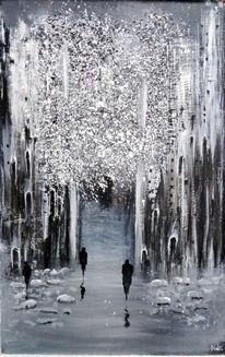 Schwarz weiß, Baum, Eisig, Malen