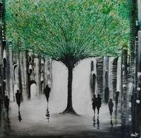 Grün, Stadt, Menschen, Malerei