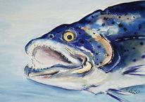 Stillleben, Fische, Aquarell