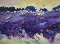Landschaft, Lavendel, Aquarell