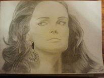 Dame, Kopf, Portrait, Bleistiftzeichnung
