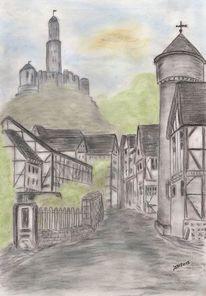Faust, Zeichnung pastell, Stadt, Bühnenbild