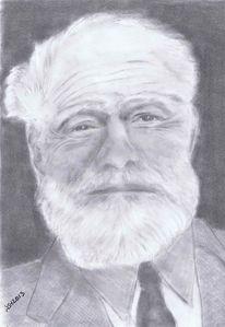 Portrait, Hemmingway, Zeichnung, Literatur
