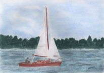 Landschaft, Holzboot, Segelboot, Zeichnung
