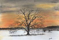 Landschaft, Pastellmalerei, Himmel, Baum