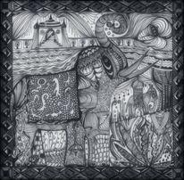 Tanglic, Elefant, Zeichnung auf papier, Zeichnungen