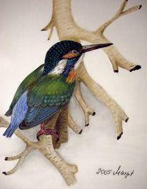 Eisvogel, Acrylmalerei, Malerei