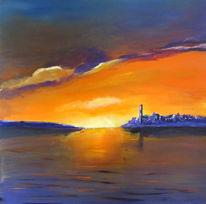 Abend, Romantik, See, Sonnenuntergang
