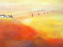 Haus, Sommer, Acrylmalerei, Toskana