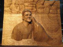 Relief, Schnitzkunst, Delfin, Portrait