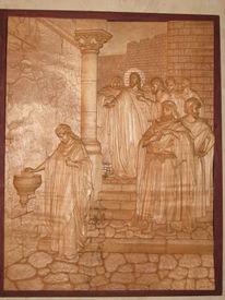 Relief aus foto, Kunst der holzschnitzerei, Biblische motive, Ahornholz