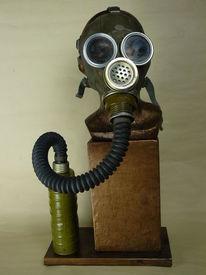 Gasmaske, Krieg, Bronze, Atomschlag