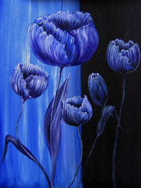 Ölmalerei, Naturnah, Blau, Blumen