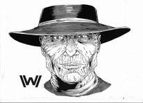 Schwarz, Cowboy, Comic, Zeichnungen