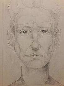 Portrait, Emotion, Bleistiftzeichnung, Zeichnungen
