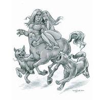 Zentaur, Frau, Wolf, Zeichnungen