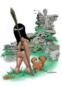 Frau, Hund, Zukunft, Monument