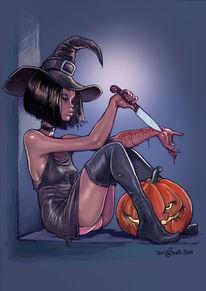 Halloween, Frau, Messer, Kürbisse
