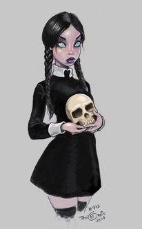 Zeichnung, Mädchen, Schädel, Illustrationen