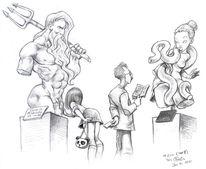 Statue, Smartphone, Poseidon, Bleistiftzeichnung