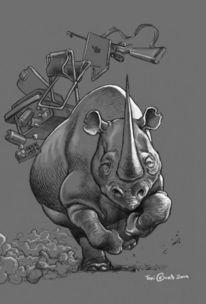 Nashorn, Angriff, Zeichnung, Zeichnungen