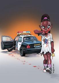 Mädchen, Polizei, Vampir, Illustrationen
