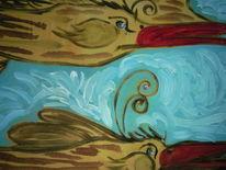Zeichnen, Mit pinsel, Acrylmalerei, Holz