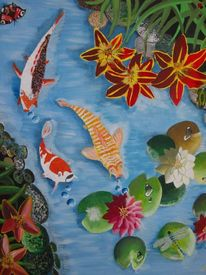 Acrylmalerei, Tier, Fische, Koi