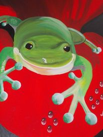 Fische, Gemälde, Wasser, Frosch