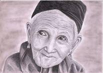Bleistiftzeichnung, Alte frau, Portrait, Oma