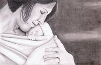 Mutter und kind, Bleistiftzeichnung, Nähe, Baby