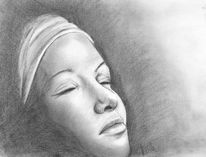 Portrait, Emotion, Zeichnung, Bleistiftzeichnung