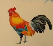 Güggel, Hahn, Tiere, Malerei